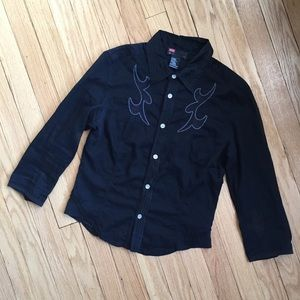 Diesel embroidered button down collared shirt